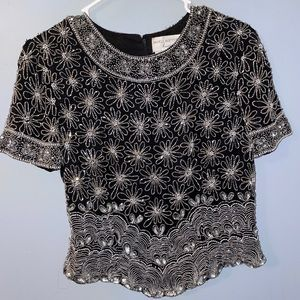 Papell Boutique Beaded short sleeve top